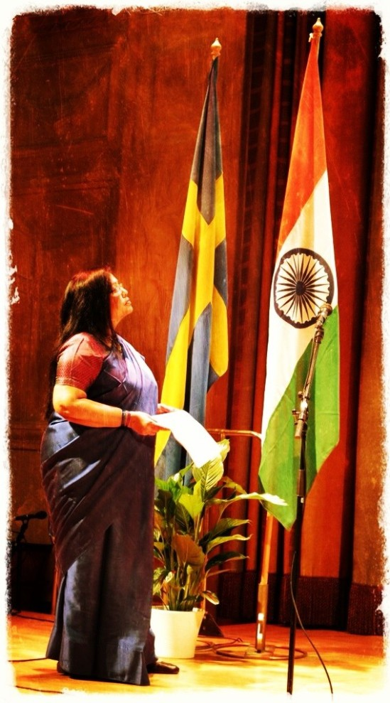 Indiens ambassadör, H.E. Mrs. Banashri Bose Harrison, inviger (diplomat)mottagningen med anledning av firandet av Republikens Dag (The Republic Day of India)