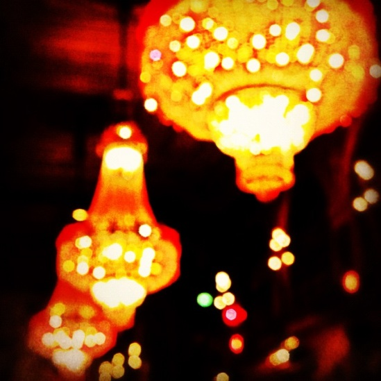 Twinkle twinkle little star... Xmas lights? No, year round chandeliers at Berns, Stockholm