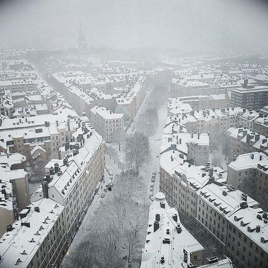 Södervy i snödis, von oben