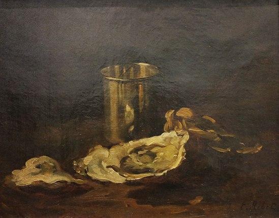 Théodule Ribots målning Ostron och bägare (ca 1859) kanske som inspiration för kvällens tillställning.