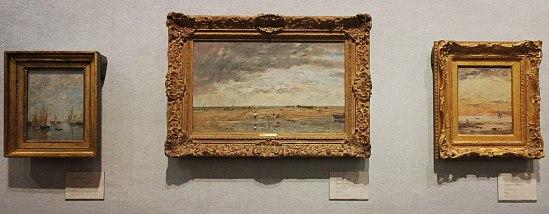 3 x Eugène Bodin: Trouville, kajen vid högvatten / Fiskare vid havet / Lågvatten i solnedgång. Ca 1890