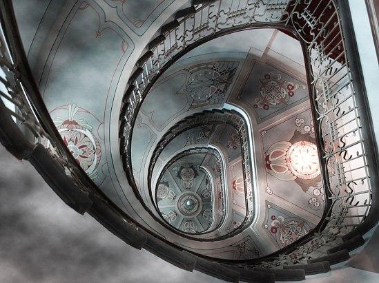 Vackrare trapphus får man leta (förgäves) efter! (Perspektivet är nerifrån och upp)
