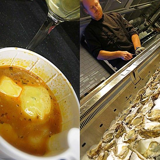 Kajsas Fisks bouillabaisse (på kummel) smakar utmärkt, även i plastkopp. Medan Hav bjöd på ostron (fine de claire). Alla tusen gick åt.