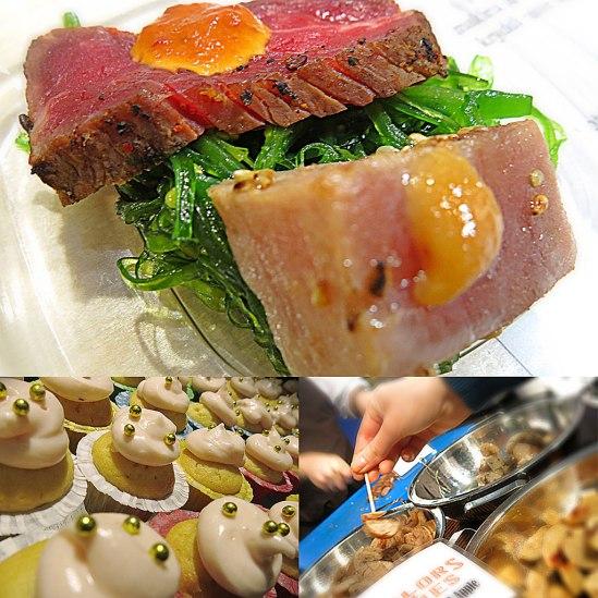 Halstrad tonfisk & grillad biff på Tokyo Dinner. Cupcakes från Borgs Bageri. Hemstoppad korv hos Taylor & Jones.