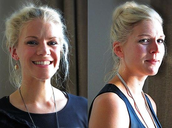 """Angelica bär Elisabet Dohnas örhänge i guld/safirer (19 800-). I Majas öron hänger ett par """"bevingade"""" ur den nya kollektionen Öronfröjd () där även de på linneväv liggande pärlhängena i mattskimrande silver ()"""