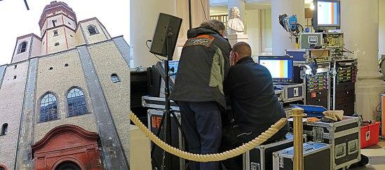 Nicolaikyrkan. Idag har Bachbysten sällskap av massor av tv.