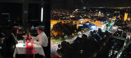 Middag på restaurangen högst upp i Panorama Tower vid Augustusplatz. Utsikten bättre än maten