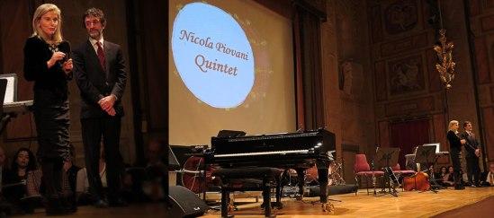 Den italienska ambassadrisen Elena Basile (sekunderad av ambassadrådet Pierluigi Ferraro) stod värdinna för denna hyllningskonsert, som följdes av en mottagning i Konserthusets foajé.