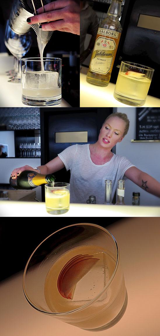 ÄPPLE Muddla ett halvt äpple, 4 cl Aalborg Jubilæums Akvavit, 2 cl sockerlag, 3 cl citron. Toppas med champagne, om så önskas